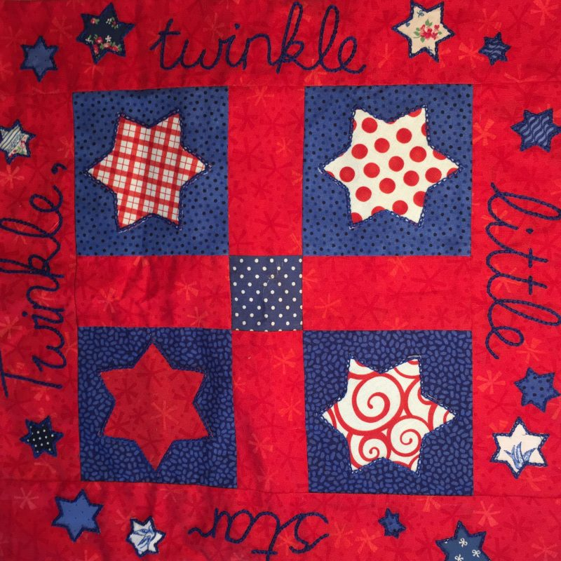 whole front cover of red and blue cushion cover