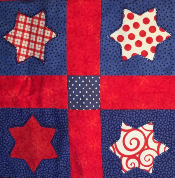 Close up of 4 central patches - red and blue