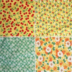 4 squares of patches for the yellow/green cushion cover